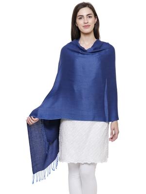 Solid Viscose rayon Reversible Shawl Blue
