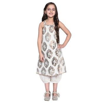 White Printed Cotton Kid Kurti With Payjama