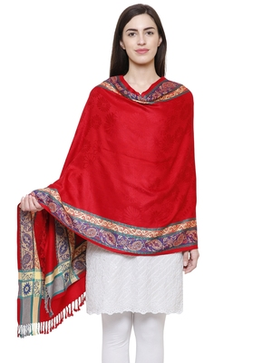 Voscose Rayon Ethnic Woven Design Shawl Red