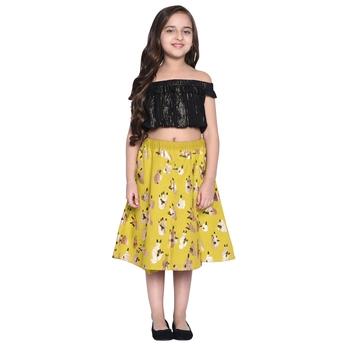 Black Printed Cotton Kids Skirts
