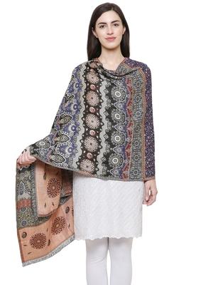 Voscose Rayon Geomatric & striped Woven Design Shawl Black and Multicolour