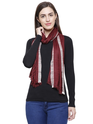 Voscose Rayon Checked Woven Design Scarf Red