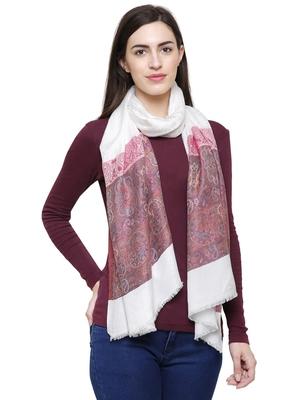 Voscose Rayon Paisley Woven Design Shawl White & Pink