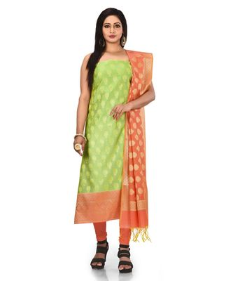 Pistachio Zari Cotton Silk unstitched salwar with dupatta