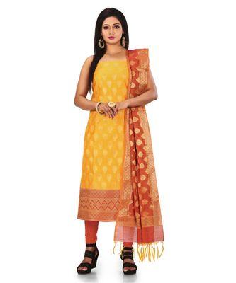 Yellow Zari Cotton Silk unstitched salwar with dupatta