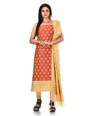 Red Zari Cotton Silk unstitched salwar with dupatta