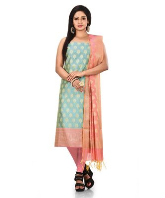 Light Blue Zari Cotton Silk unstitched salwar with dupatta