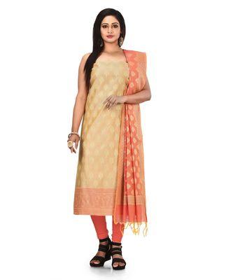 Cream Zari Cotton Silk unstitched salwar with dupatta
