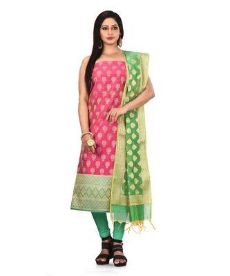 Pink Zari Cotton Silk unstitched salwar with dupatta