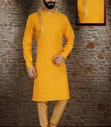 Yellow Stylish Silk Side Open Silk Kurta