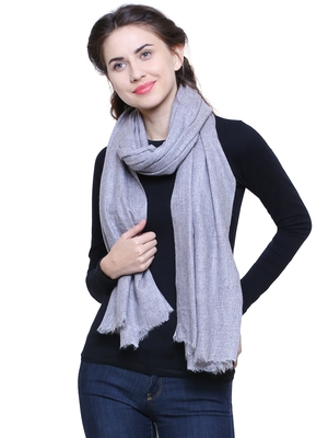 Light Grey Pure Woolen Solid Stole