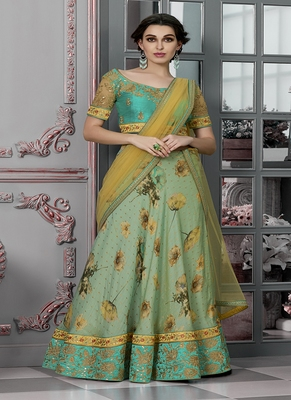 Light-green digital print silk semi stitched lehenga