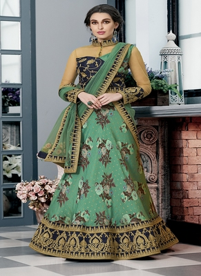 Sea-green digital print silk semi stitched lehenga