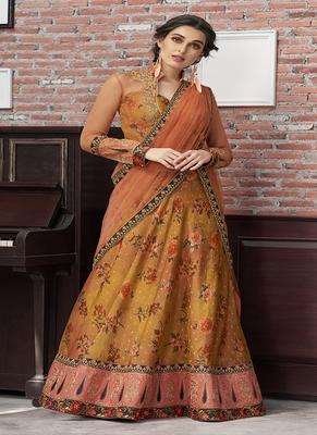 Copper digital print silk semi stitched lehenga