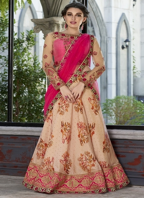 Light-peach digital print silk semi stitched lehenga