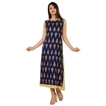 Women's Designer Embroidered on Neck With Gold Print Kurta