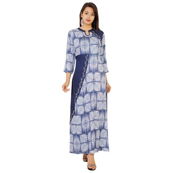 Women's Designer Solid BeigeIinner And Gold Printed Upper And Sleevs In Side Atteched Kurta