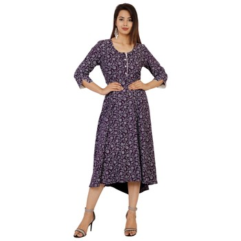 Women's Designer Solid with Embroidered and Mirror Work on the Neck Kurta