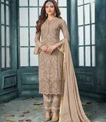 Buy Cream embroidered faux georgette salwar