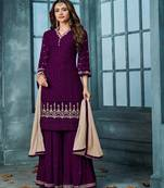 Buy Purple embroidered faux georgette salwar