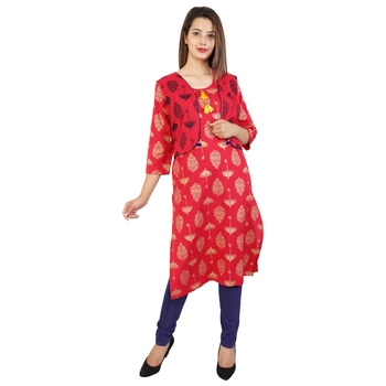 Women's Designer Kantha And Squince Work On The Neck Kurta