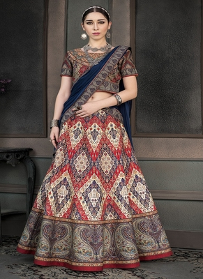 Multicolor digital print silk semi stitched lehenga