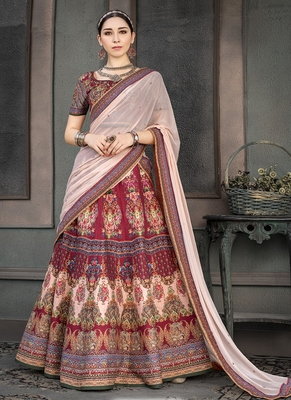 Crimson digital print silk semi stitched lehenga
