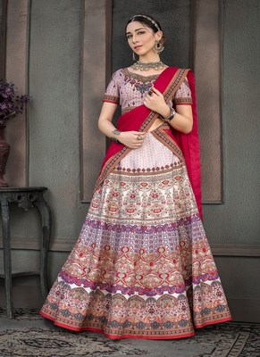 Mauve digital print silk semi stitched lehenga