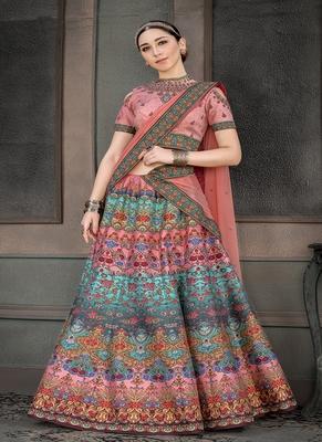 Light-pink digital print silk semi stitched lehenga