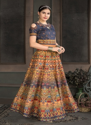 Peach digital print silk semi stitched lehenga