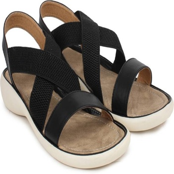 Do Bhai black Flat Sandal For Women
