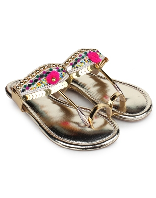 Do Bhai gold Flat Sandal For Women
