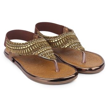 Do Bhai brown Flat Sandal For Women
