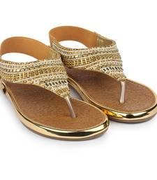 Do Bhai gold Flat Sandal For Women