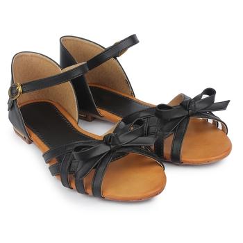 Do Bhai black Flat Sandal For Women