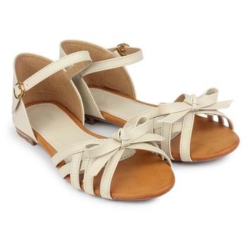 Do Bhai cream Flat Sandal For Women
