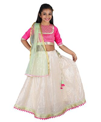 Pink and white lehnga Choli Set