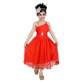 Red Embroidered Super Net Kids Frocks
