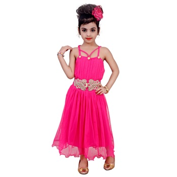 Pink Embroidered Super Net Kids Frocks