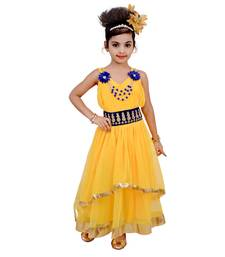Yellow Embroidered Super Net Kids Frocks