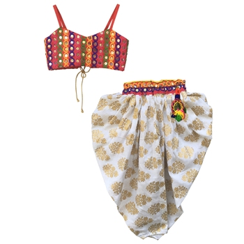 WHITE Girls's indowestern dhoti suit