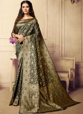 Dark olive woven art silk sarees saree with blouse