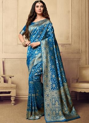 Sky Blue Woven Art Silk Sarees Saree With Blouse