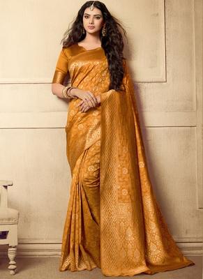 Mustard Woven Art Silk Sarees Saree With Blouse