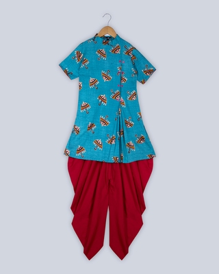 Blue plain cotton boys-kurta-pyjama