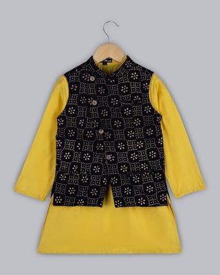 Yellow plain cotton boys kurta with nehru jacket