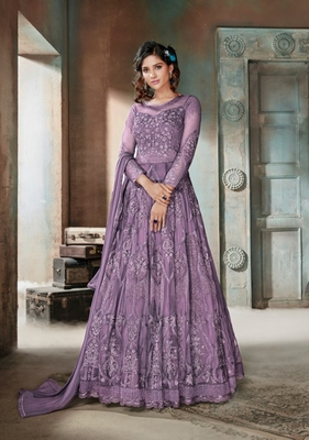 Lavender embroidered net salwar
