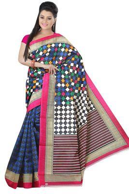 Light multicolor printed art silk sarees saree with blouse