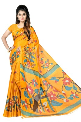 Dark yellow printed art silk sarees saree with blouse