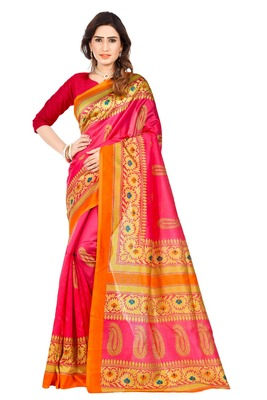 light pink printed art silk sarees saree with blouse